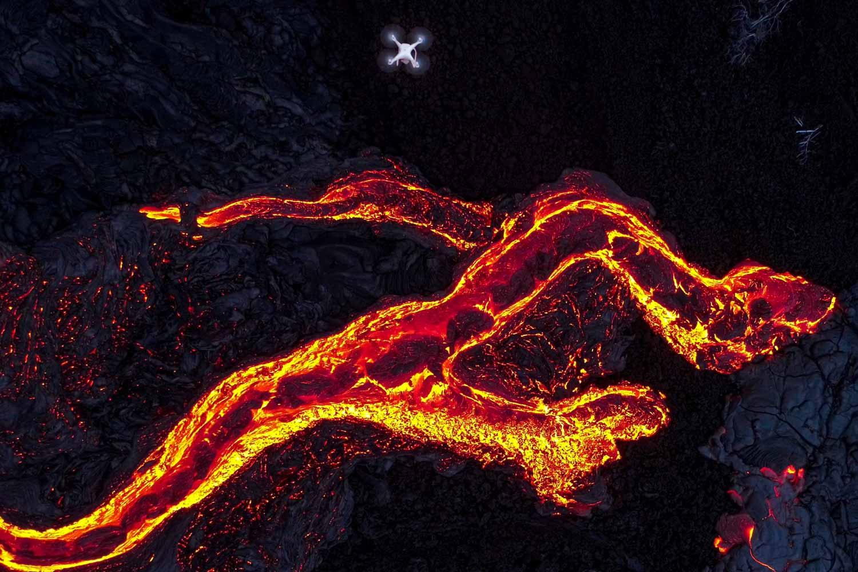 lava flow kilauea drone